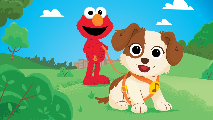 """This image released by Sesame Workshop shows characters Elmo and Tango in a scene from the new special """"Furry Friends Forever: Elmo Gets a Puppy,"""" debuting on HBO Max on Aug. 5. (Sesame Workshop via AP)"""