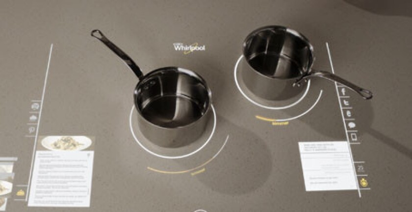 A prototype for a Whirlpool interactive cooktop.