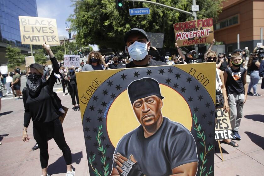 Portrait honoring George Floyd in Los Angeles