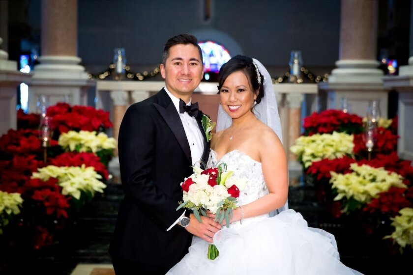 Maria and Chris Cate after their wedding at the Church of the Immaculata at the University of San Diego.