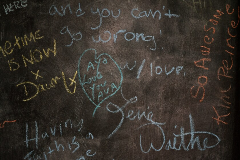 The chalkboard at DuVernay's offices