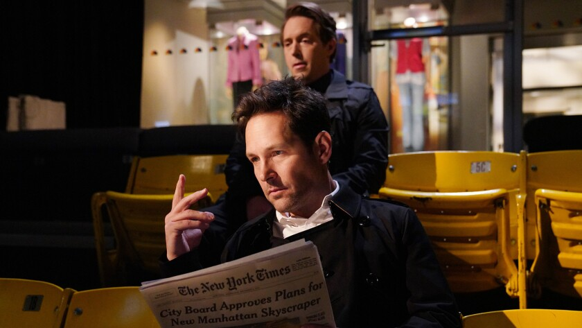 "Paul Rudd, front, and Beck Bennett in ""Saturday Night Live"" on NBC."