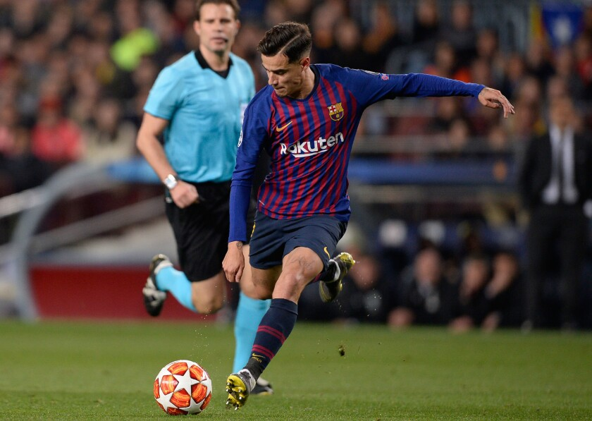 Barcelona's Brazilian midfielder Philippe Coutinho kicks the ball during the UEFA Champions League quarter-final second leg football match between Barcelona and Manchester United at the Camp Nou stadium in Barcelona on April 16, 2019. (Photo by PAU BARRENA / AFP)PAU BARRENA/AFP/Getty Images ** OUTS - ELSENT, FPG, CM - OUTS * NM, PH, VA if sourced by CT, LA or MoD **
