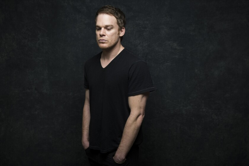 """PARK CITY, UT -- JANUARY 18, 2014--Actor Michael C. Hall, with the film, """"Cold in July,"""" is photogra"""
