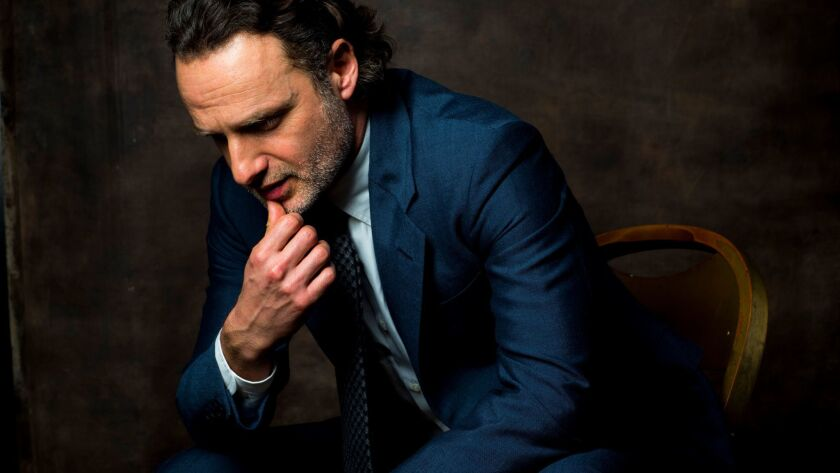 """Actor Andrew Lincoln, who plays character """"Rick Grimes,"""" on AMC's, """"The Walking Dead,"""" is photographed during Paley Fest, in the L.A. Times photo studio at the Dolby Theatre in Hollywood."""