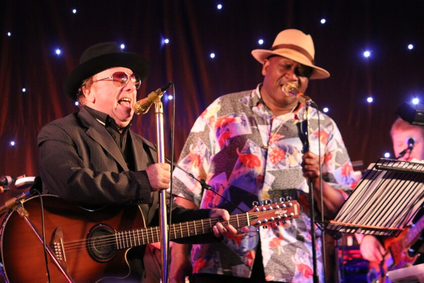"""Van Morrison, left, was joined by Taj Mahal in Newcastle, Northern Ireland, at this 2014 concert. Mahal is a guest vocalist on Morrison's album, """"Duets: Re-Working the Catalogue."""""""