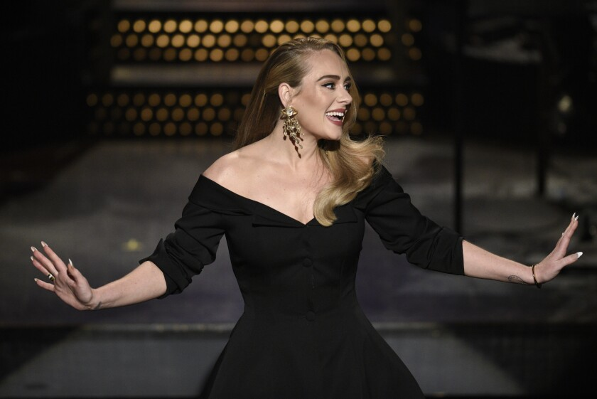 Host Adele during her Saturday Night Live monologue in Oct. 2020.