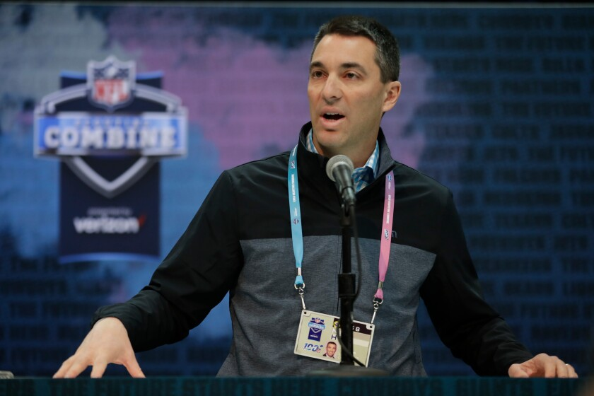 Chargers general manager Tom Telesco speaks at the NFL scouting combine.