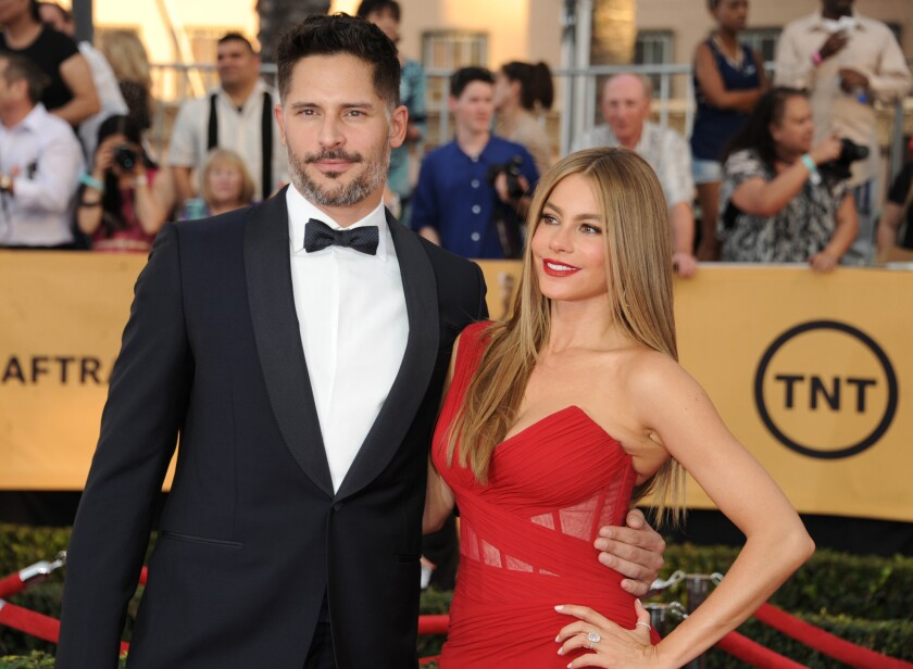 Joe Manganiello, left, and Sofía Vergara arrives at the 21st Screen Actors Guild Awards at the Shrine Auditorium on Jan. 25, 2015, in Los Angeles.