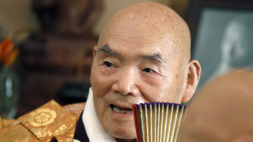 Joshu Sasaki Roshi celebrates his 50th anniversary at Rinzaiñji Zen Center in Los Angeles in 2012.