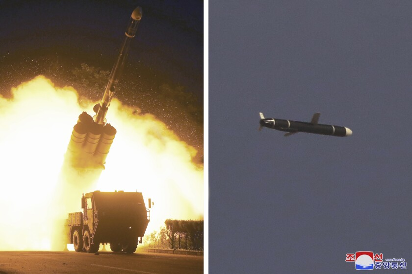 Combination of photos shows a blastoff from a giant vehicle and a flying missile