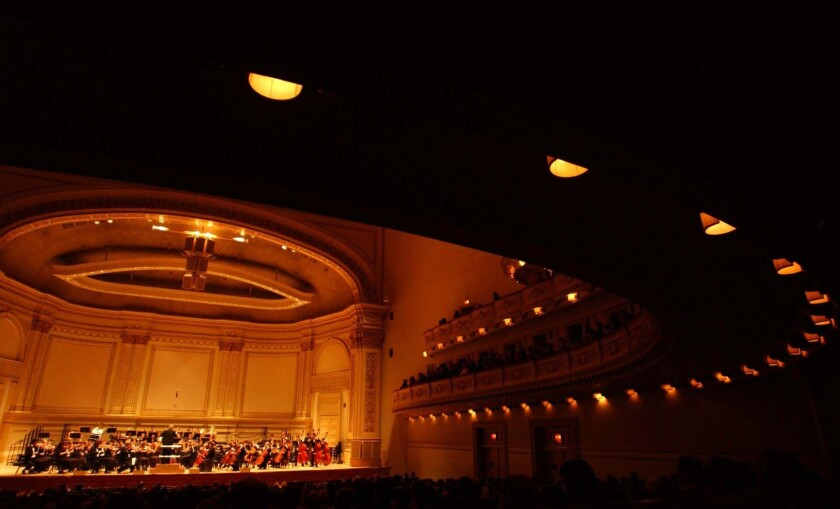 A file photo of the interior of Carnegie Hall.