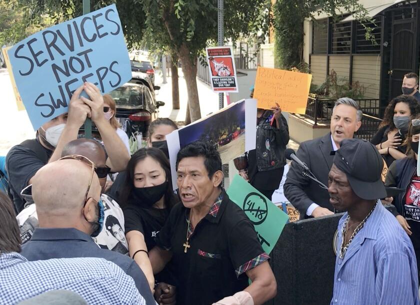 A confrontation at Los Angeles City Councilman Joe Buscaino's press conference.