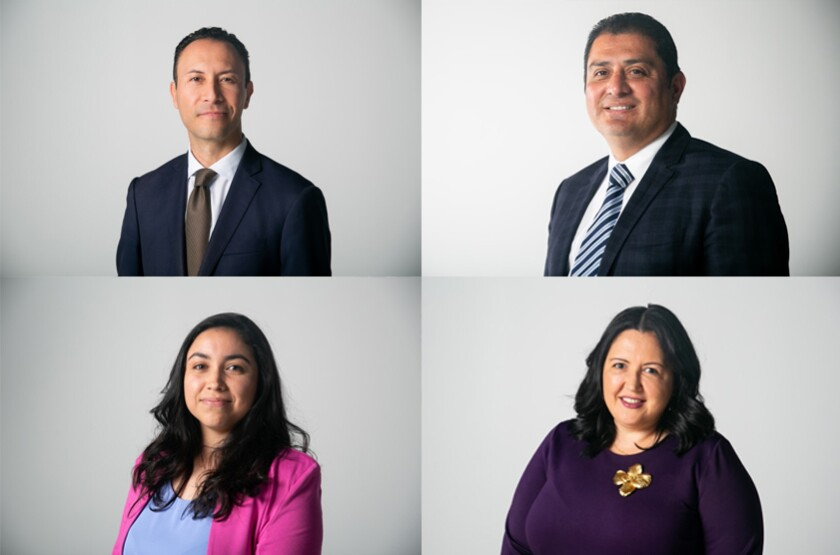 Four candidates running for San Diego County Board of Supervisors District 1 are Rafael Castellanos (top left), state Senator Ben Hueso (top right), Sophia Rodriguez (bottom left), and Nora Vargas (bottom right).