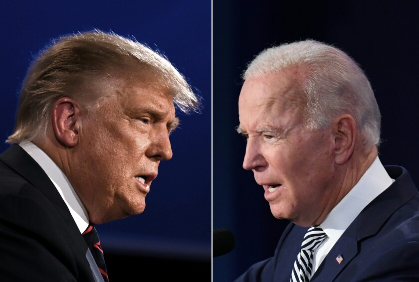 President Trump and former Vice President Joe Biden debate in Cleveland on Tuesday night.