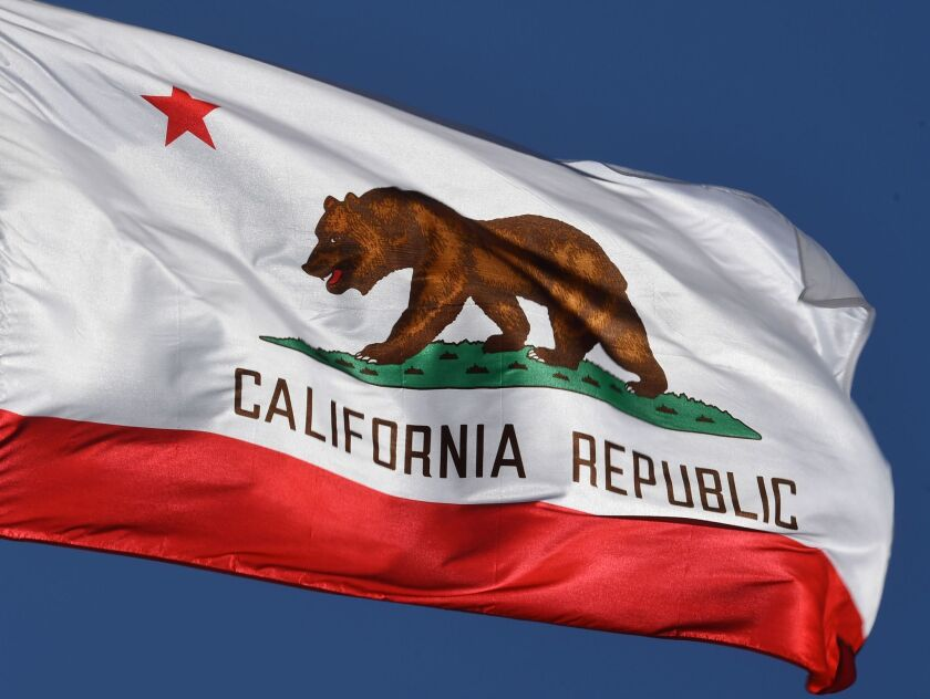 The California State flag flies outside City Hall, in Los Angeles, California on January 27, 2017.A campaign by Californians to secede from the rest of the country over Donald Trump's election is gaining steam with suporters given the green light to start collecting signatures for the measure to be put to a vote. / AFP PHOTO / Mark RALSTONMARK RALSTON/AFP/Getty Images