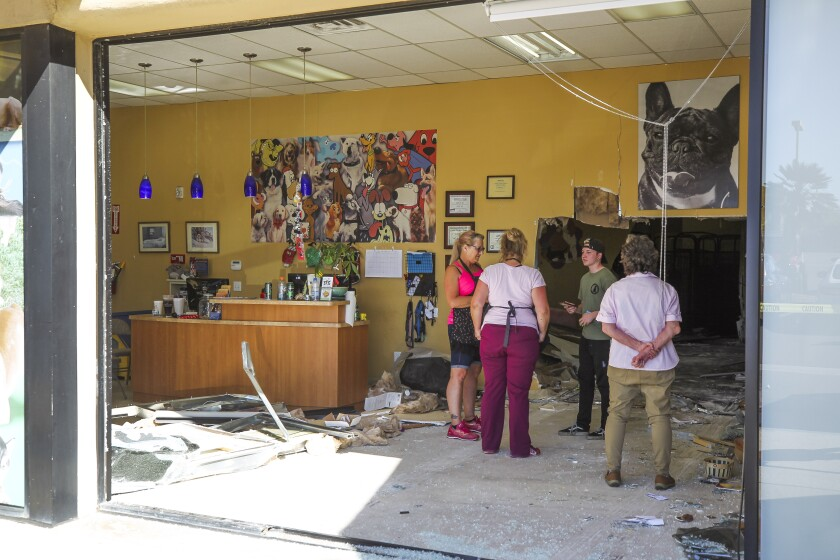 People stand inside Sandy Pawz, where earlier a woman accidentally drove her car through the front window of the dog grooming and boarding shop on Friday in San Marcos. No people or animals were injured.