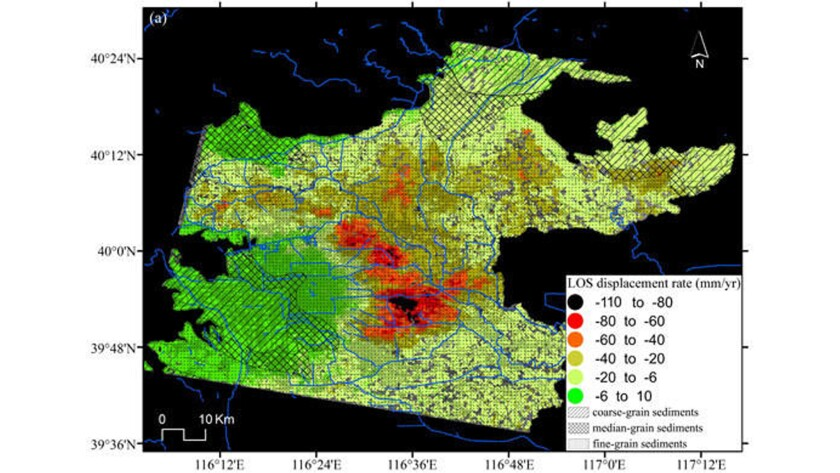 Map depicts the average land subsidence rates in the Beijing Basin from 2003 to 2010.