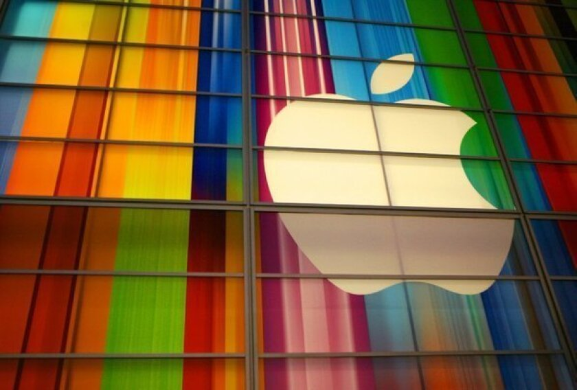 The Apple logo is seen in this September 11, 2012 file photo at the Yerba Buena Center for Arts in San Francisco.