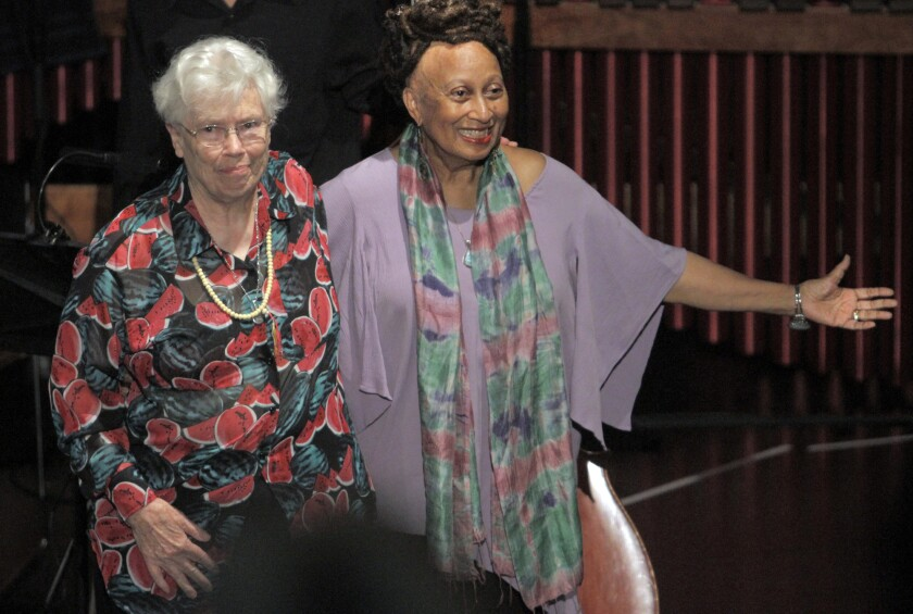 The late composer Pauline Oliveros, left, with librettist Ione, at an L.A. opera festival in 2013.