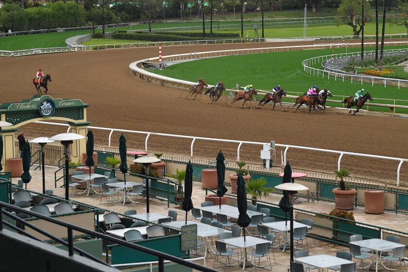 Horses run in the second race at Santa Anita Park to empty stands on March 14, 2020, in Arcadia.