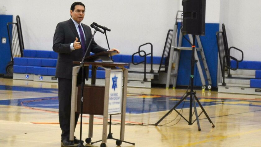 Danny Danon, Israel's Permanent Representative to the United Nations, speaks to high school students at San Diego Jewish Academy on Jan. 31.