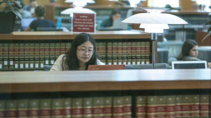 A student studies at UC Berkeley's law school in Berkeley, Calif. on Oct. 9.