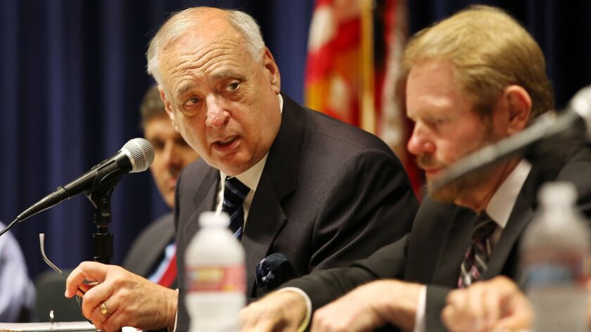 Dan Richard, chair of the California High Speed Rail Authority, directs a 2015 board meeting in Los Angeles.