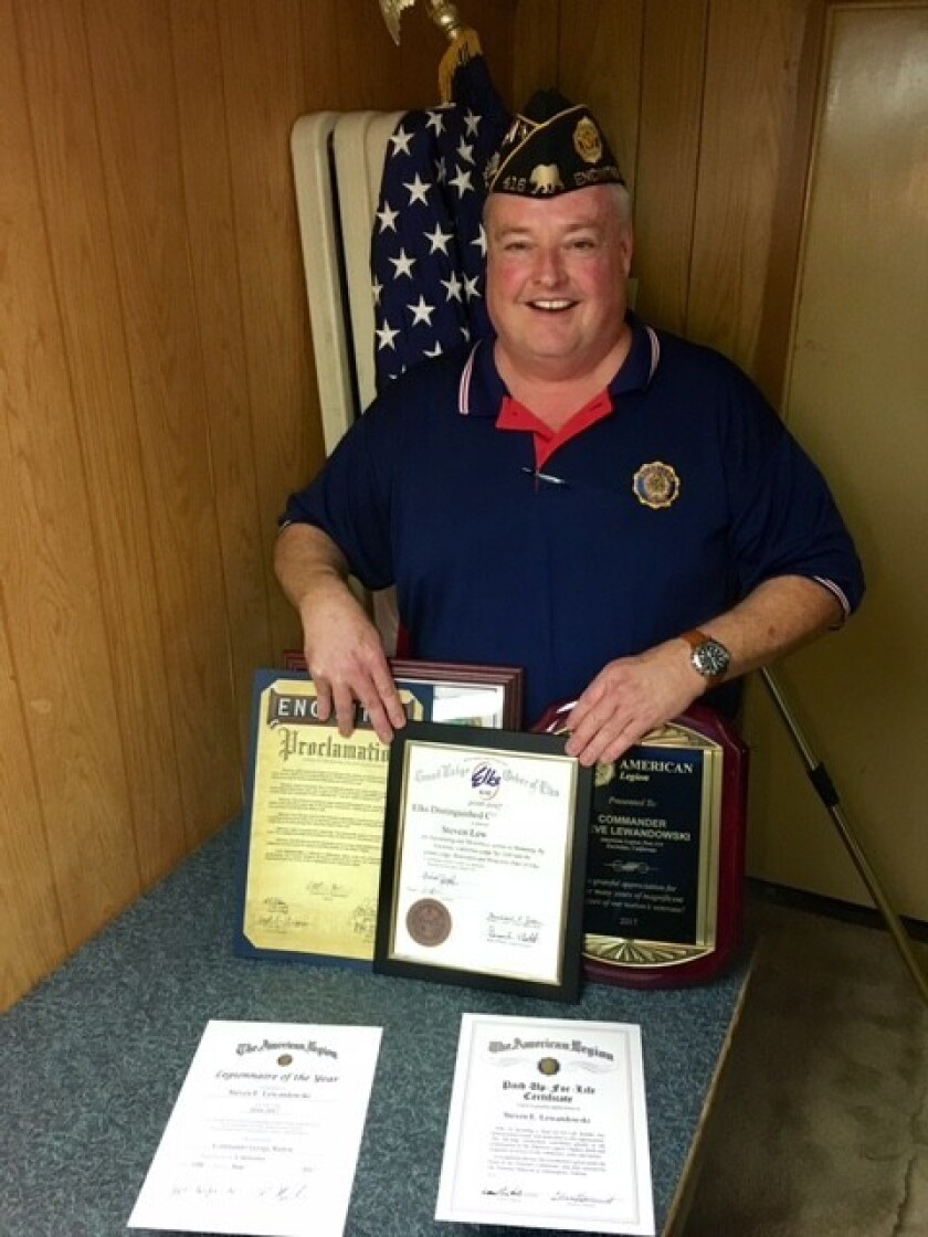 TextEditor Outgoing Commander Steve Lewandowski with his numerous awards.