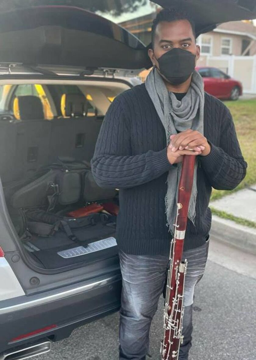 Anthony Parnther with his recovered bassoon