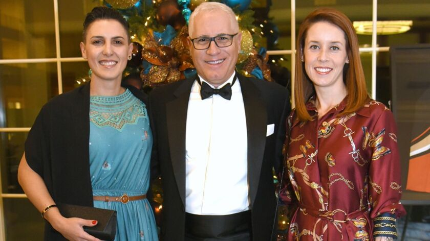 Next generation scientists, Stefania Former, PhD, and Alessandra Martini, PhD, with Dean Frank LaFer
