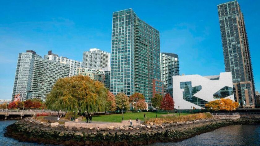 The waterfront of Long Island City in the Queens borough of New York, along the East River, is seen Nov. 7, 2018. New York's Long Island City, where Amazon is tipped to set up a new home, is a neighborhood in flux, a construction site of warehouses and skyscrapers.