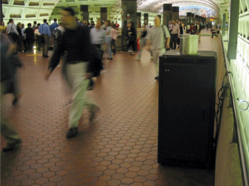 A BioWatch monitor draws little attention at a Metro station in Washington, D.C.