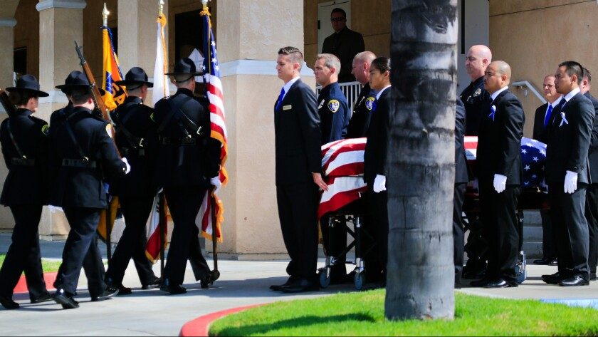 A memorial was held for a slain San Diego police officer earlier this month.