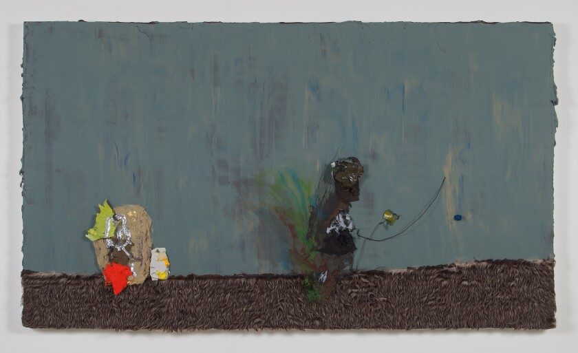 """Jennifer Wynne Reeves' """"John the Baptist,"""" a 2014 work of acrylic and collage on birch hardwood panel, is part of the exhibition at CB1."""