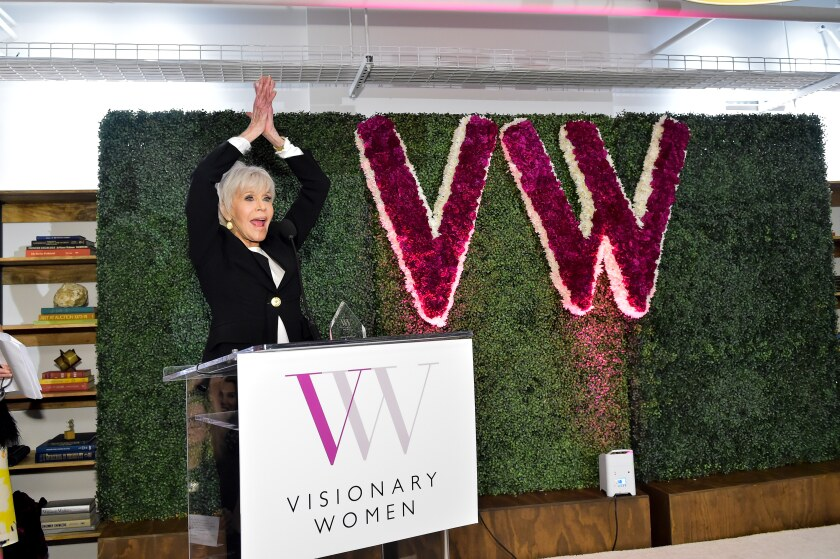 Honoree Jane Fonda speaks during Visionary Women's celebration of International Women's Day on Thursday.