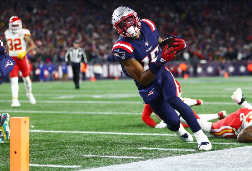 The Patriots' N'Keal Harry was ruled out of bounds as he ran toward the end zone during the fourth quarter against the Chiefs on Sunday.