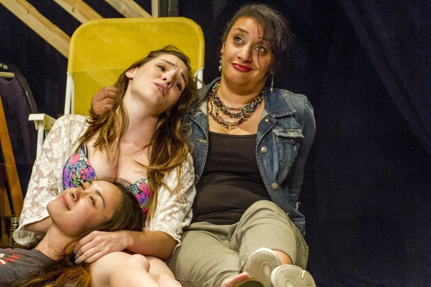 """Jennifer Paredes, Katie Sapper and Kaja Amado Dunn in """"September and Her Sisters,"""" part of the """"Out on Limb"""" program of new, San Diego-centered plays."""