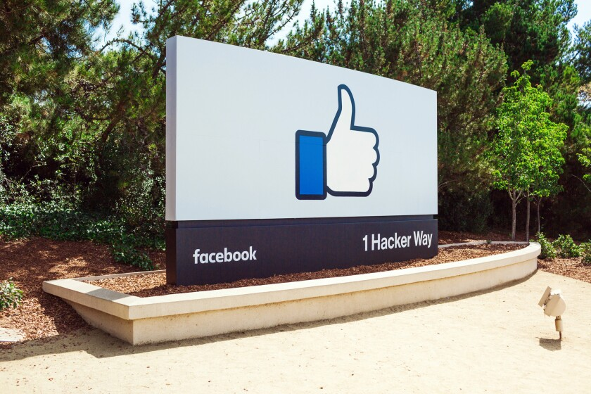 "The iconic ""thumbs up"" outside Facebook's headquarters in Menlo Park, Calif."