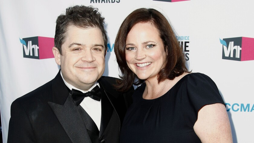 Michelle McNamara is seen with husband Patton Oswalt in 2012.