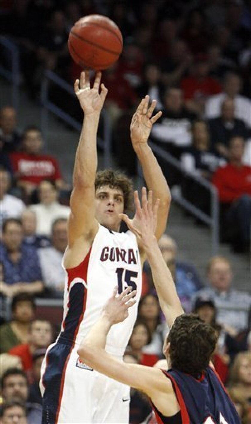 Gonzaga's Matt Bouldin shoots over Saint Mary's Clint Steindl during the first half of an NCAA college basketball game for the championship of the West Coast Conference men's tournament Monday, March 8, 2010, in Las Vegas. (AP Photo/Isaac Brekken)