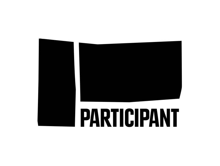 Participant's new logo features its name in all caps, surrounded by black shapes meant to evoke the planting of a flag and cut-up pieces of film.