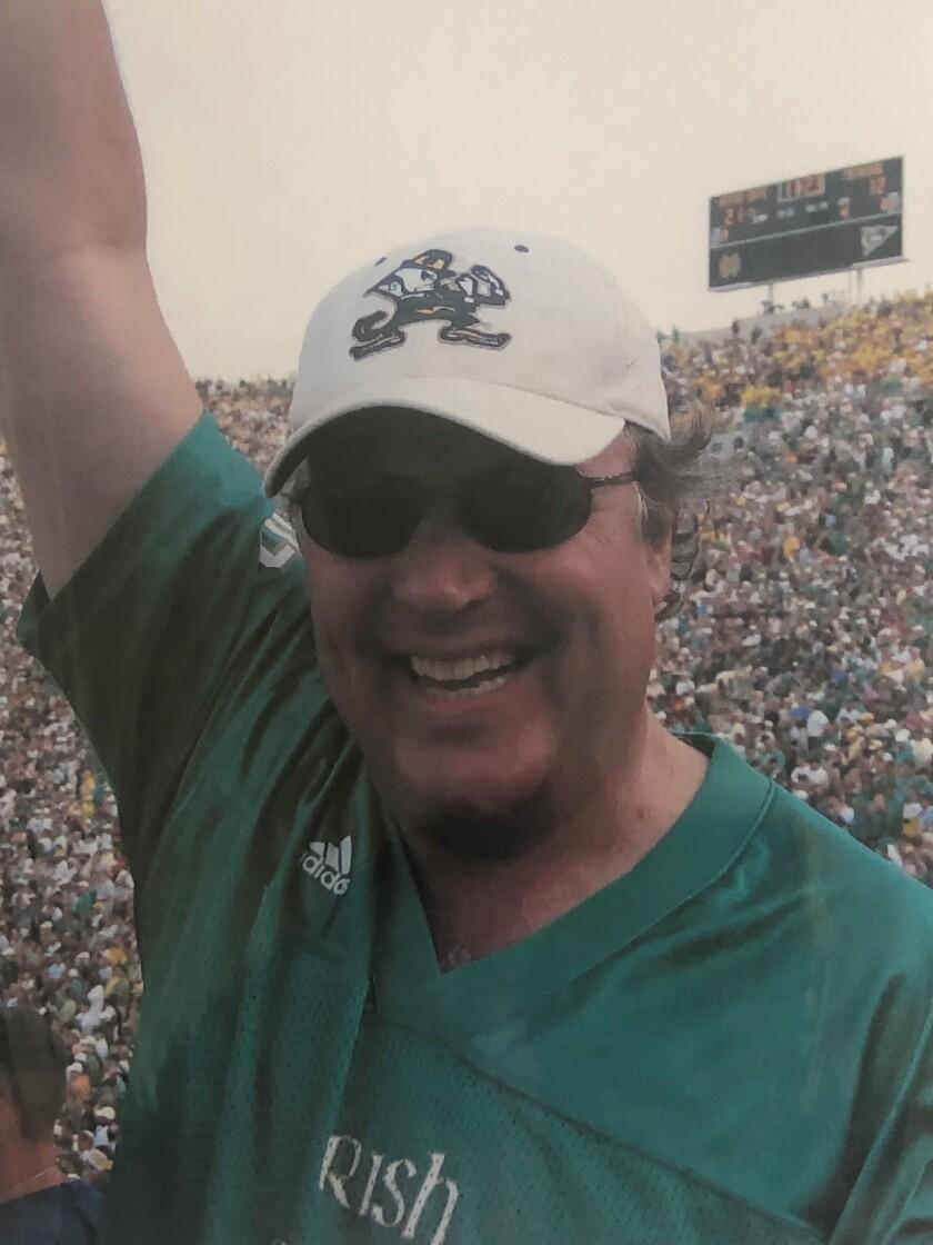 Notre Dame alum Gary Adamson at a Notre Dame football game.