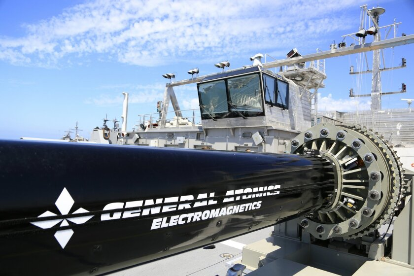 General Atomics' electromagnetic launcher or rail gun is one of two prototypes on board the USS Millinocket, the other is from BAE Systems. The projectile can reach speeds 7 times the speed of sound.