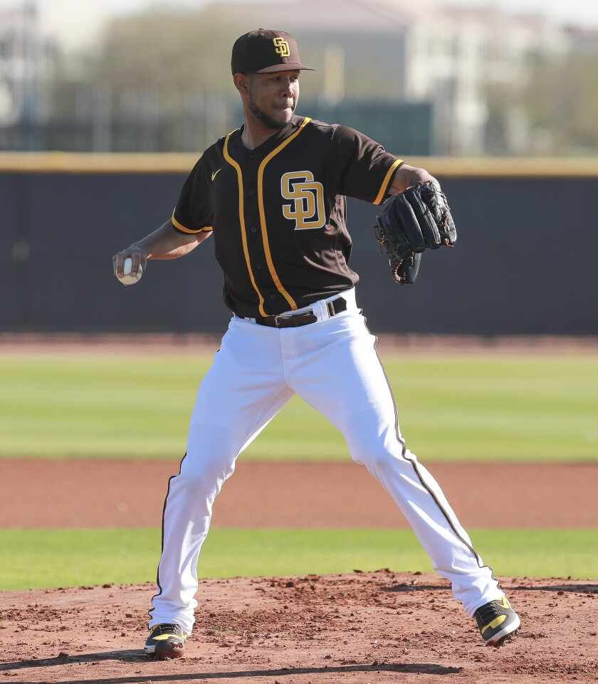 Padres pitcher Anderson Espinoza during spring training in 2020