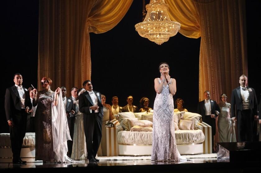 LOS ANGELES, CA - MAY 30, 2019 - - Adela Zaharia, center, performs as Violetta in Los Angeles Opera'