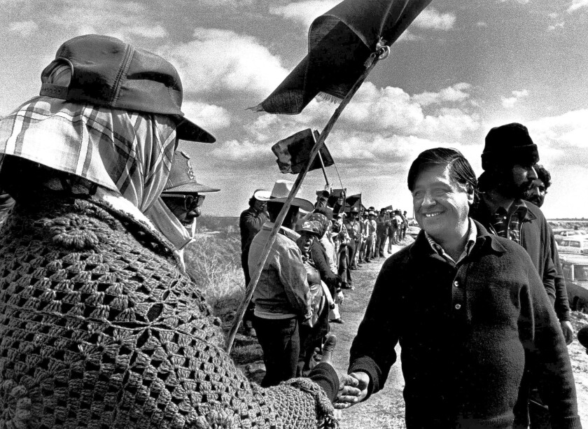 Cesar Chavez with striking United Farm Workers in the Imperial Valley in 1979.