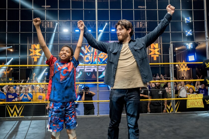 Seth Carr and Adam Pally in the wrestling movie 'The Main Event'