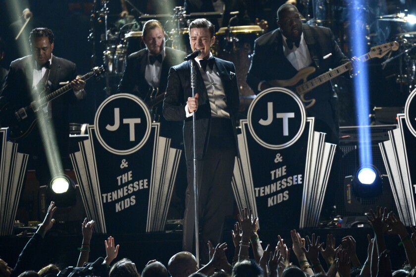 """Justin Timberlake donned a """"Suit & Tie"""" for his performance at the Grammy Awards at Staples Center on Sunday."""