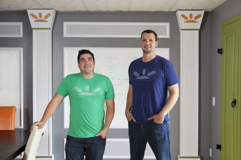 GoFundMe founders Andy Ballester and Brad Damphousse. Their crowdfunding platform surpassed Kickstarter in the fourth quarter of 2014 to become the world's top crowdfunding platform.